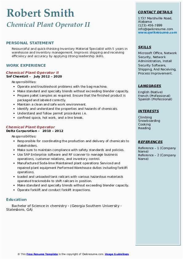 Sample Resume for Chemical Plant Operator Chemical Plant Operator Resume Samples