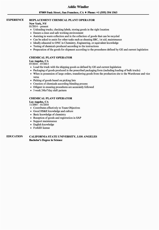 chemical plant operator resume sample