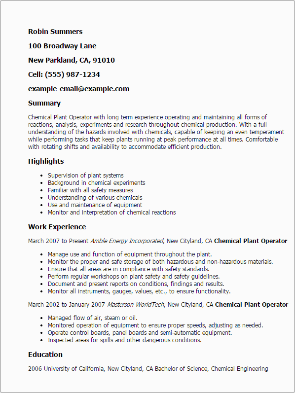 chemical plant operator