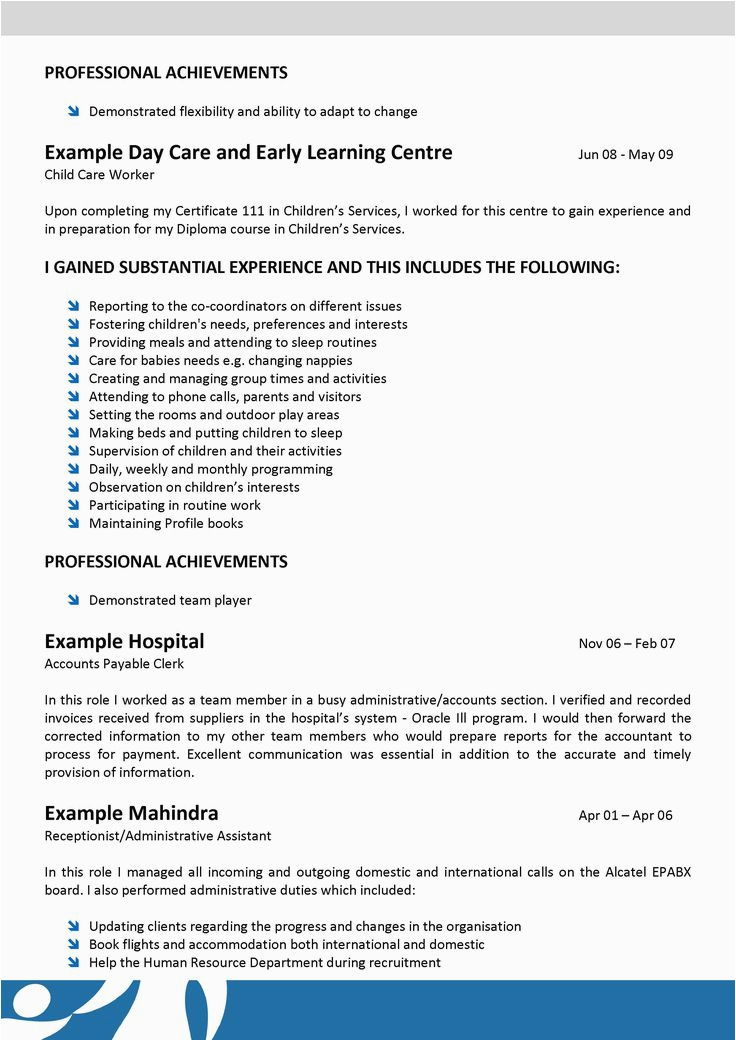 Sample Resume for Child Care assistant with No Experience Child Resume Sample Child Care Sample Resume for Child
