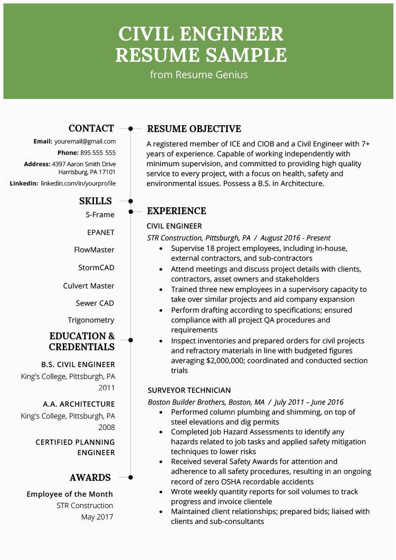 civil engineering resume example
