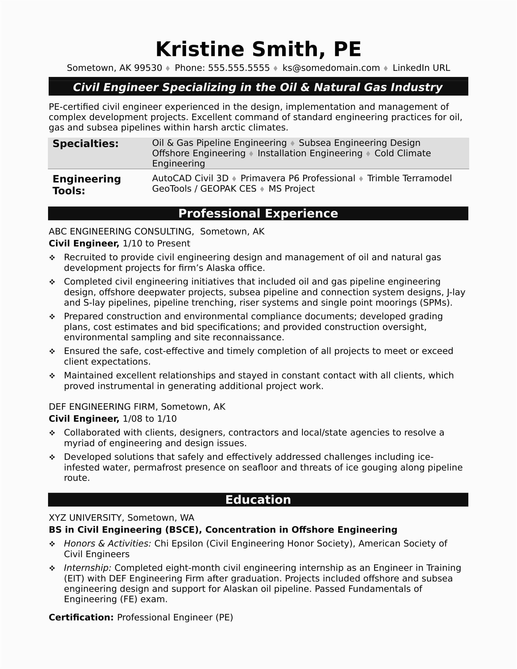 Sample Resume for Civil Engineer Experienced Sample Resume for A Midlevel Civil Engineer