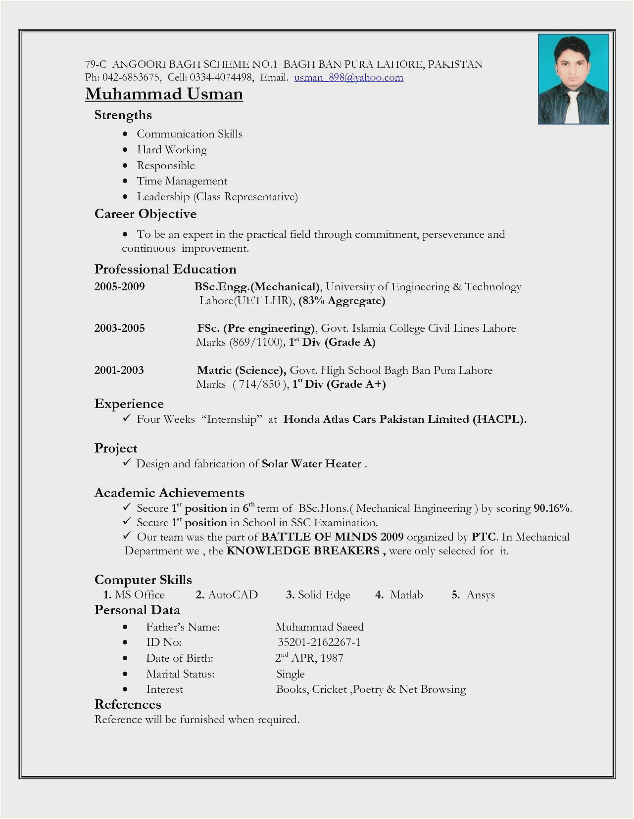 sample resume for experienced civil engineer in india