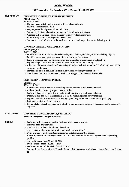civil engineering internship resume
