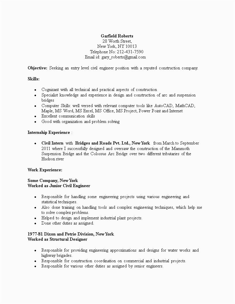 civil engineering student resume