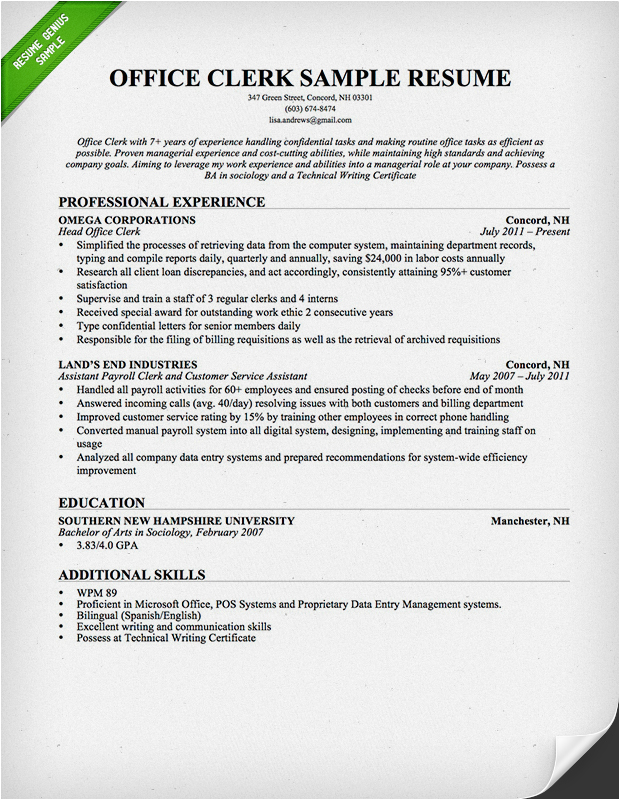 office worker resume example