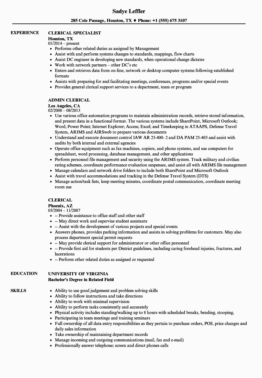 resume examples clerical