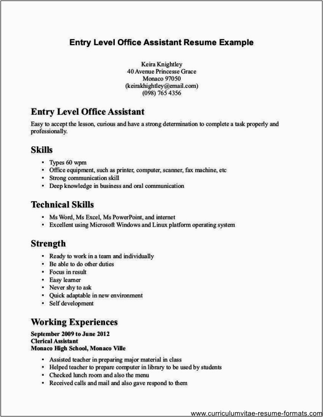 Sample Resume for Clerk with No Experience Fice Clerk Resume No Experience