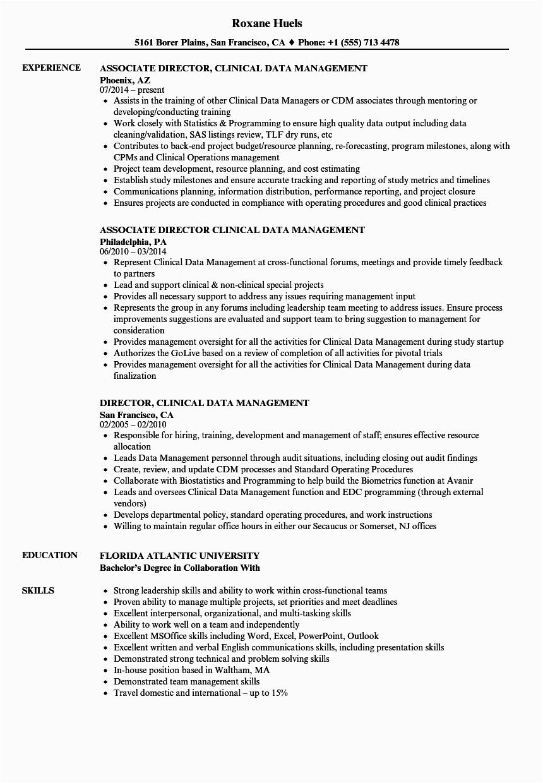 clinical data management resume sample