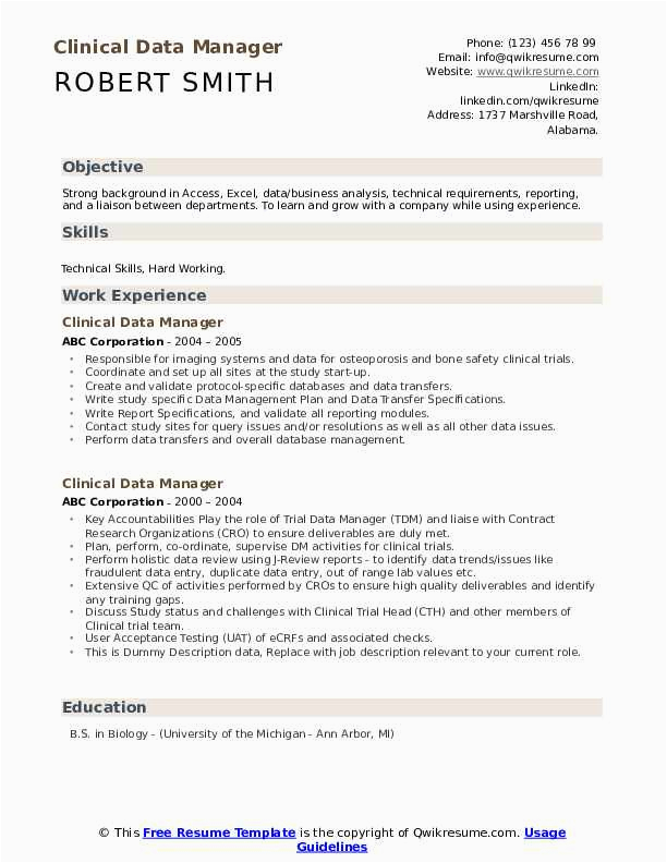 clinical data manager