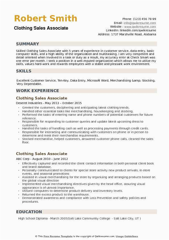 Sample Resume for Clothing Retail Sales associate Clothing Sales associate Resume Samples