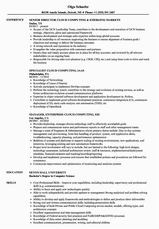 Sample Resume for Cloud Computing Pdf Cloud Puting Resume Samples