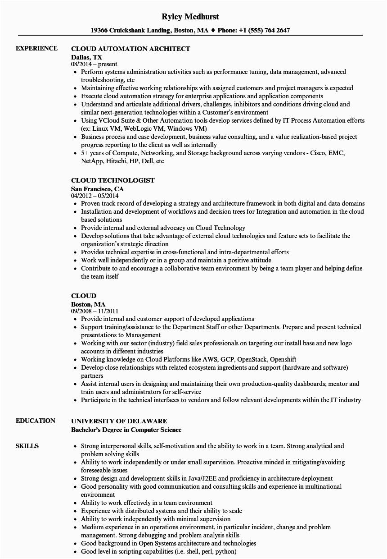 cloud resume sample
