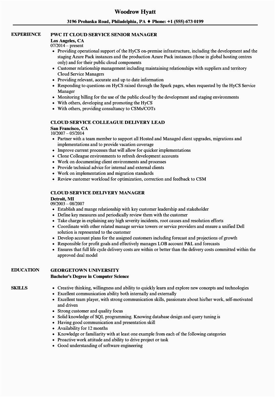 cloud service resume sample