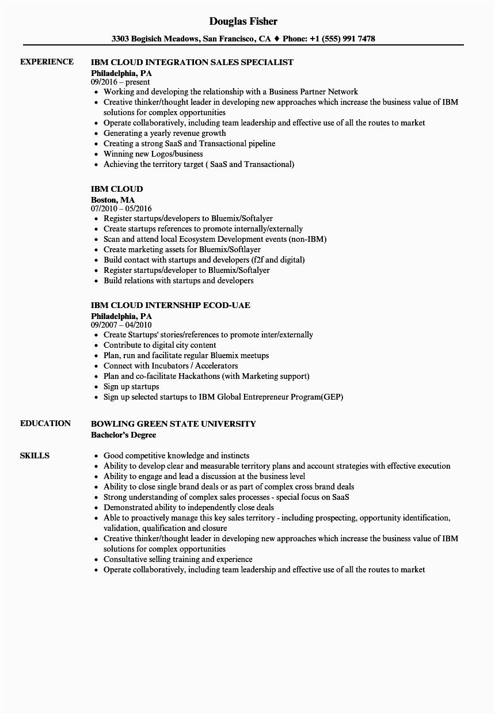 ibm cloud resume sample