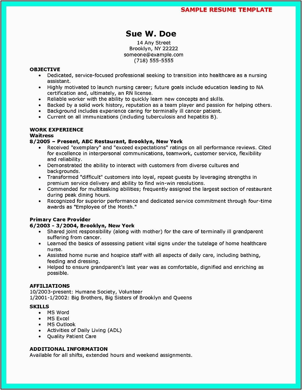 resume for cna job with no experience