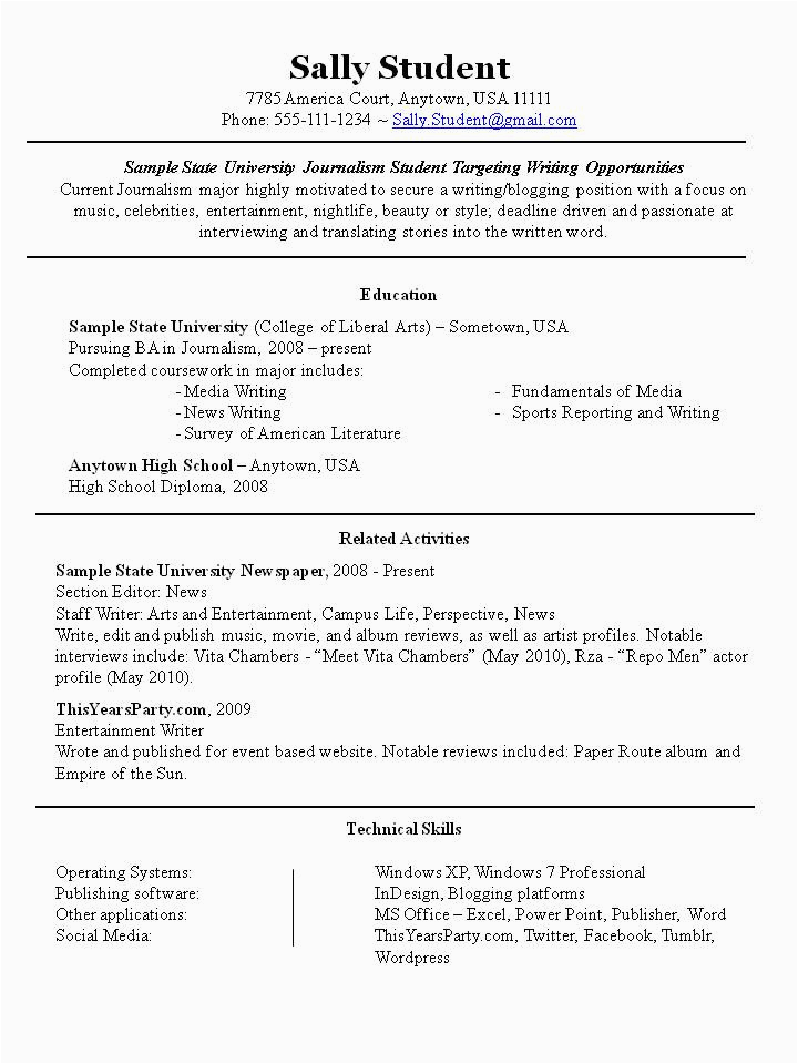 college student part time job resume