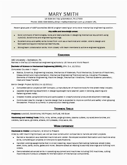 sample resume mechanical engineer entry level