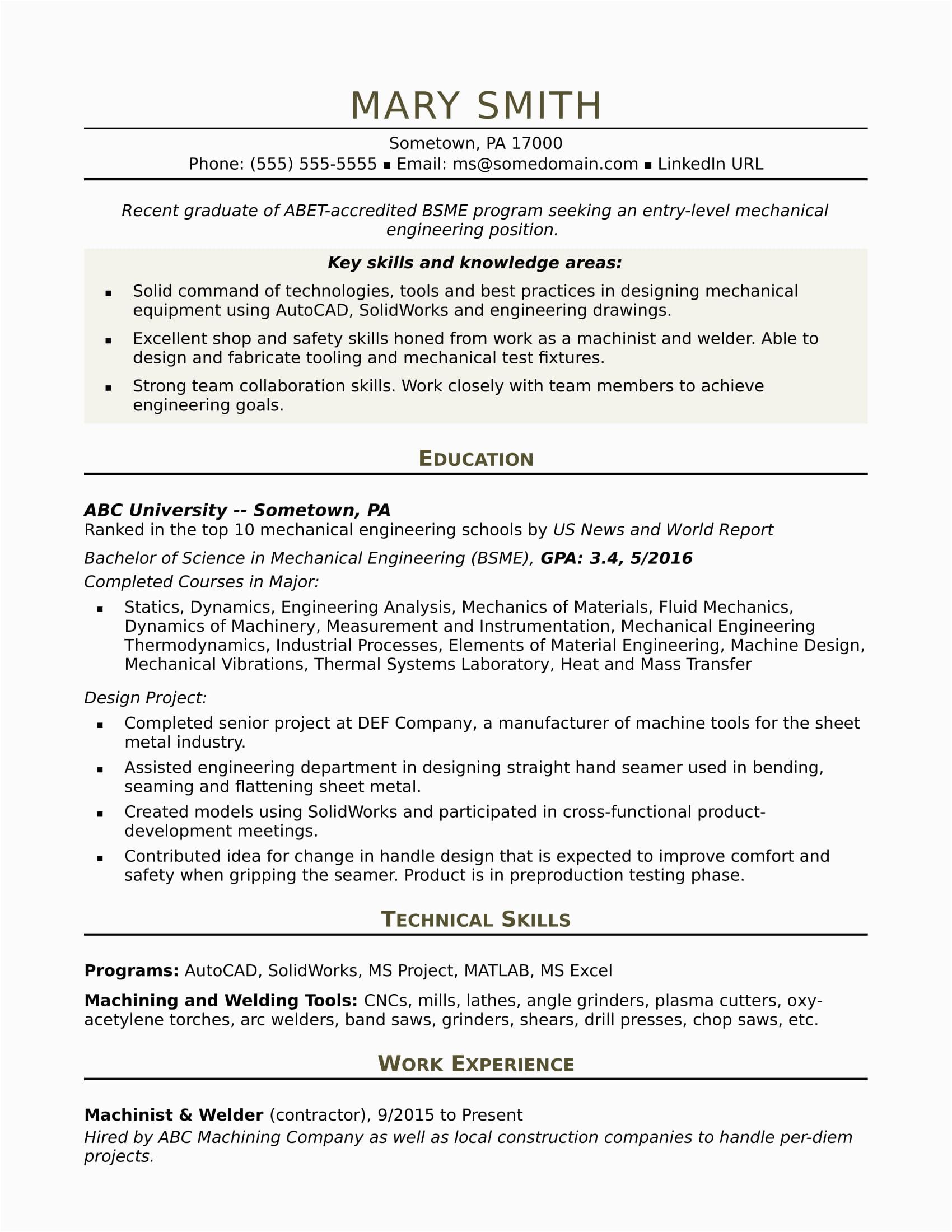 Sample Resume for Entry Level Mechanical Engineer Sample Resume for An Entry Level Mechanical Engineer