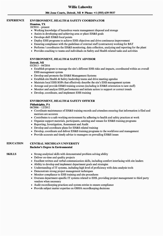 environment health safety resume sample