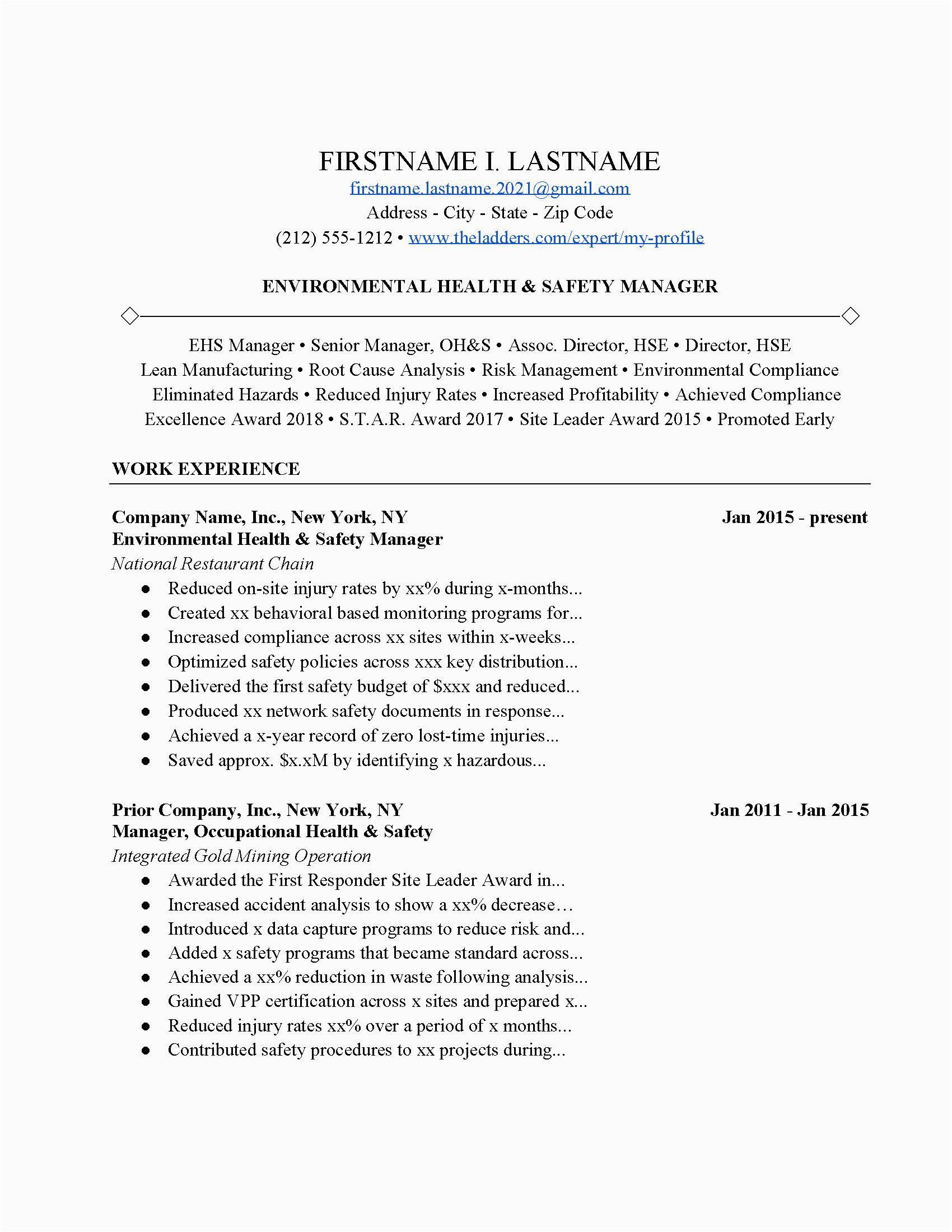 environmental health safety resume example