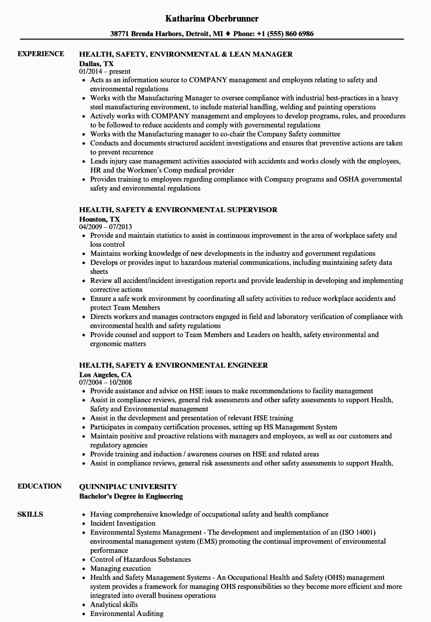environmental health and safety resume