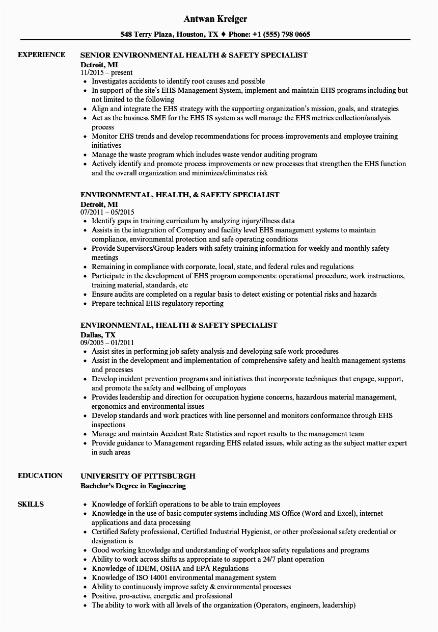 environmental health safety specialist resume sample