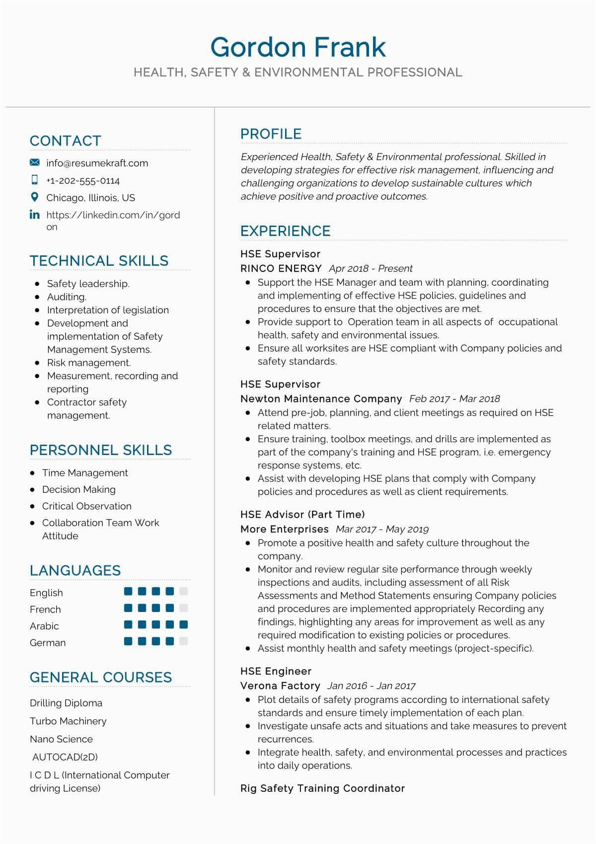 Sample Resume for Environmental Health and Safety Health Safety Environment Resume Sample 2021