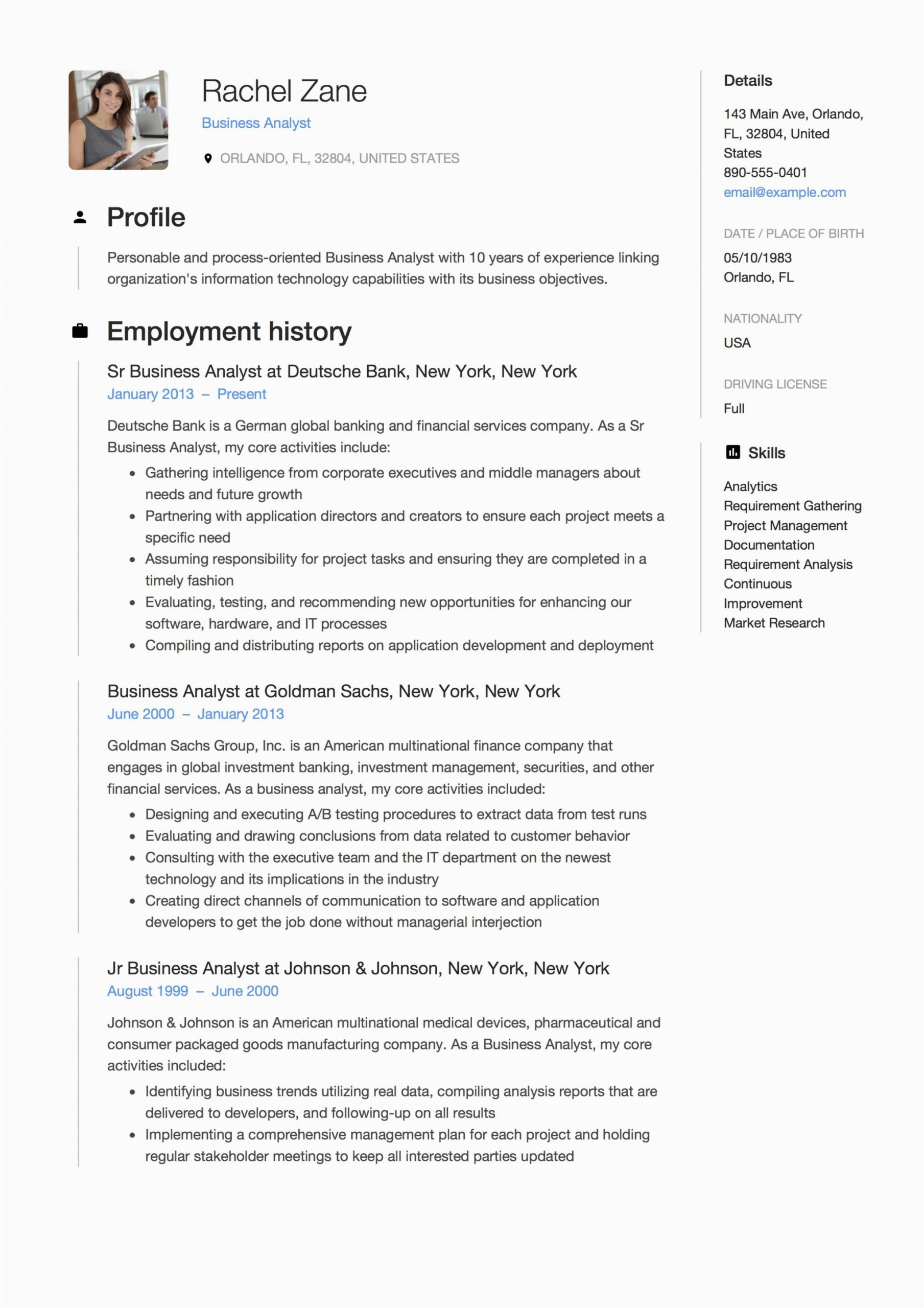 Sample Resume for Experienced Business Analyst Business Analyst Resume & Guide 12 Templates