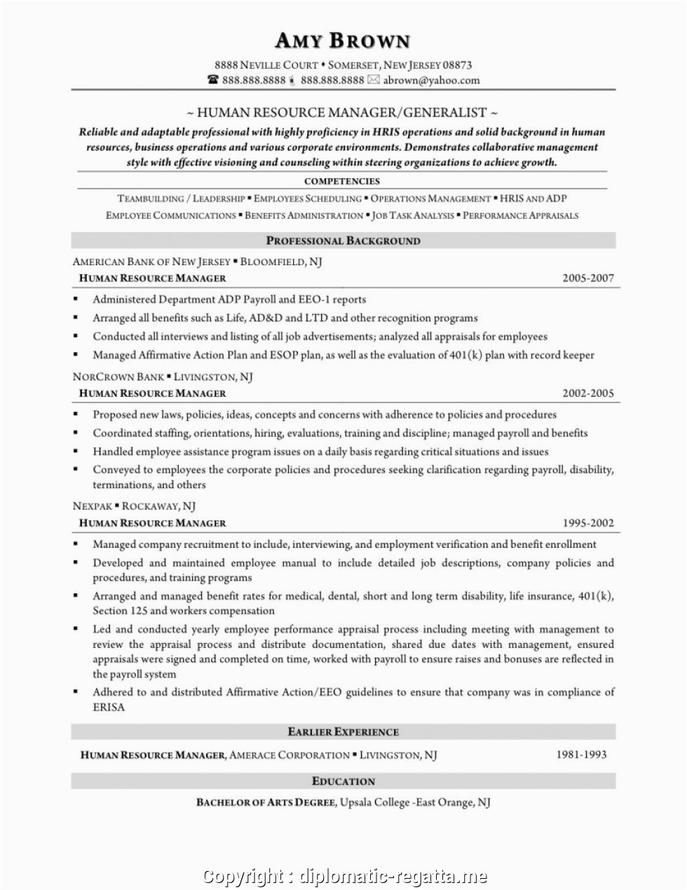 creative hr generalist resume format for experienced