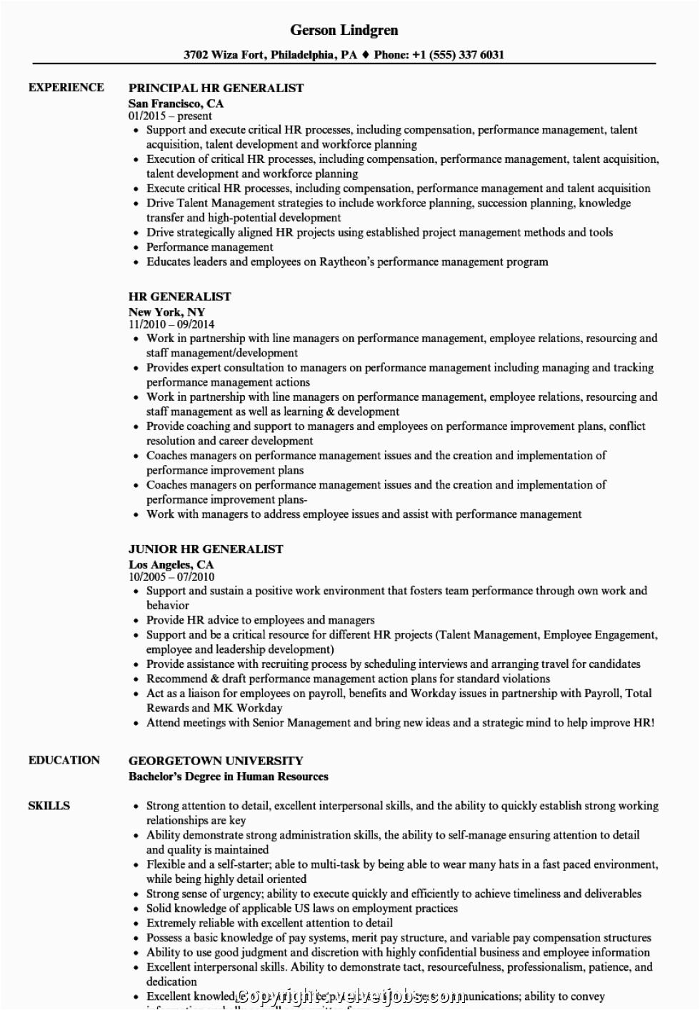 free hr generalist resume