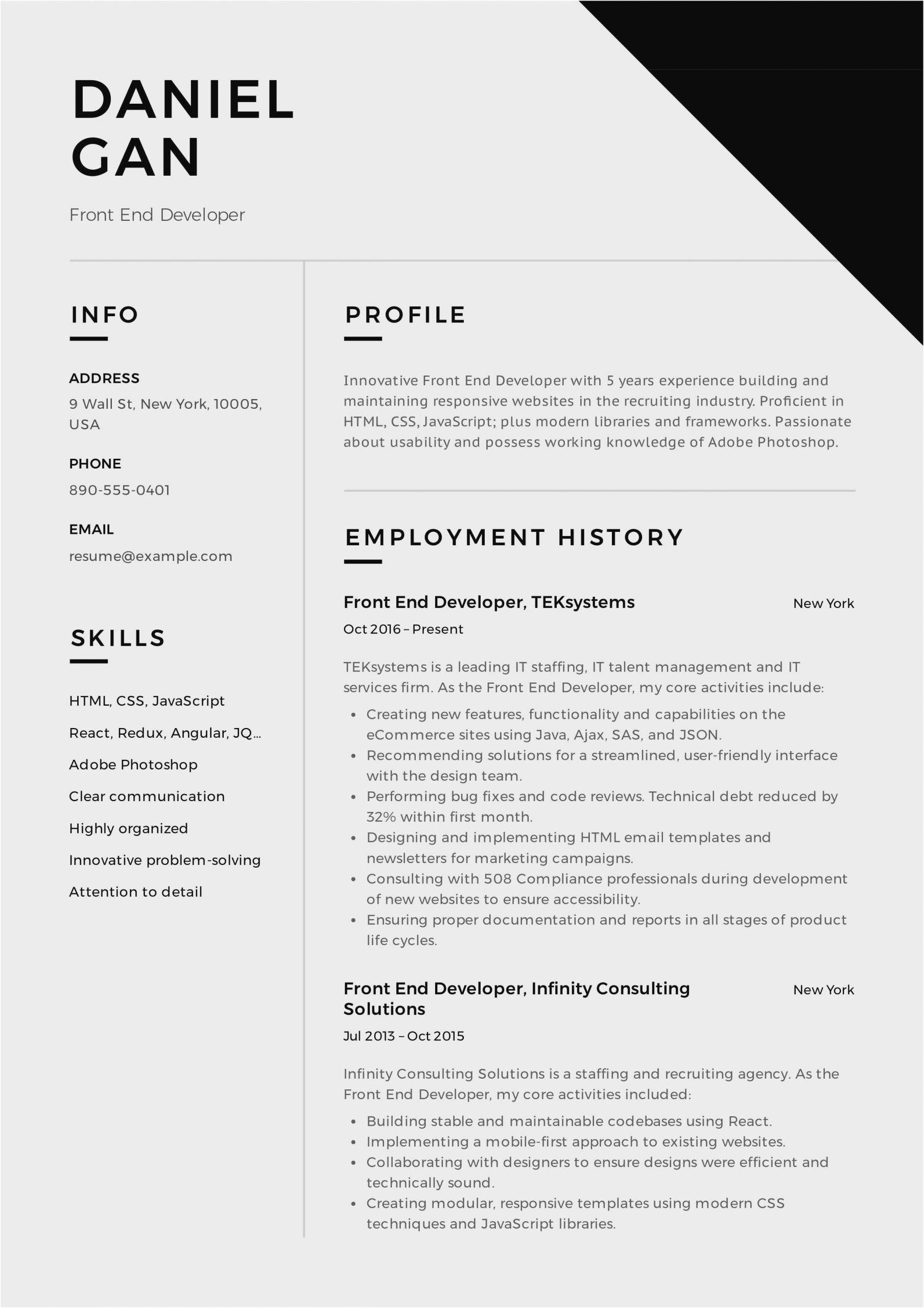 ui developer resume