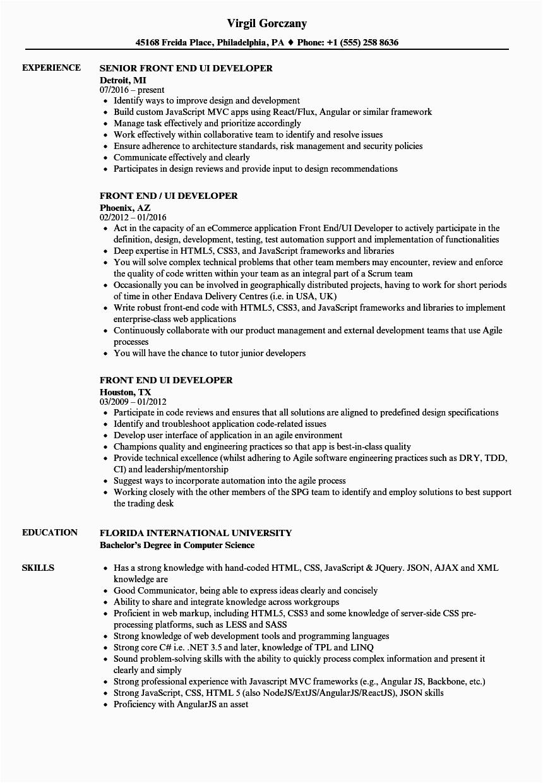 ui developer 5 years experience resume