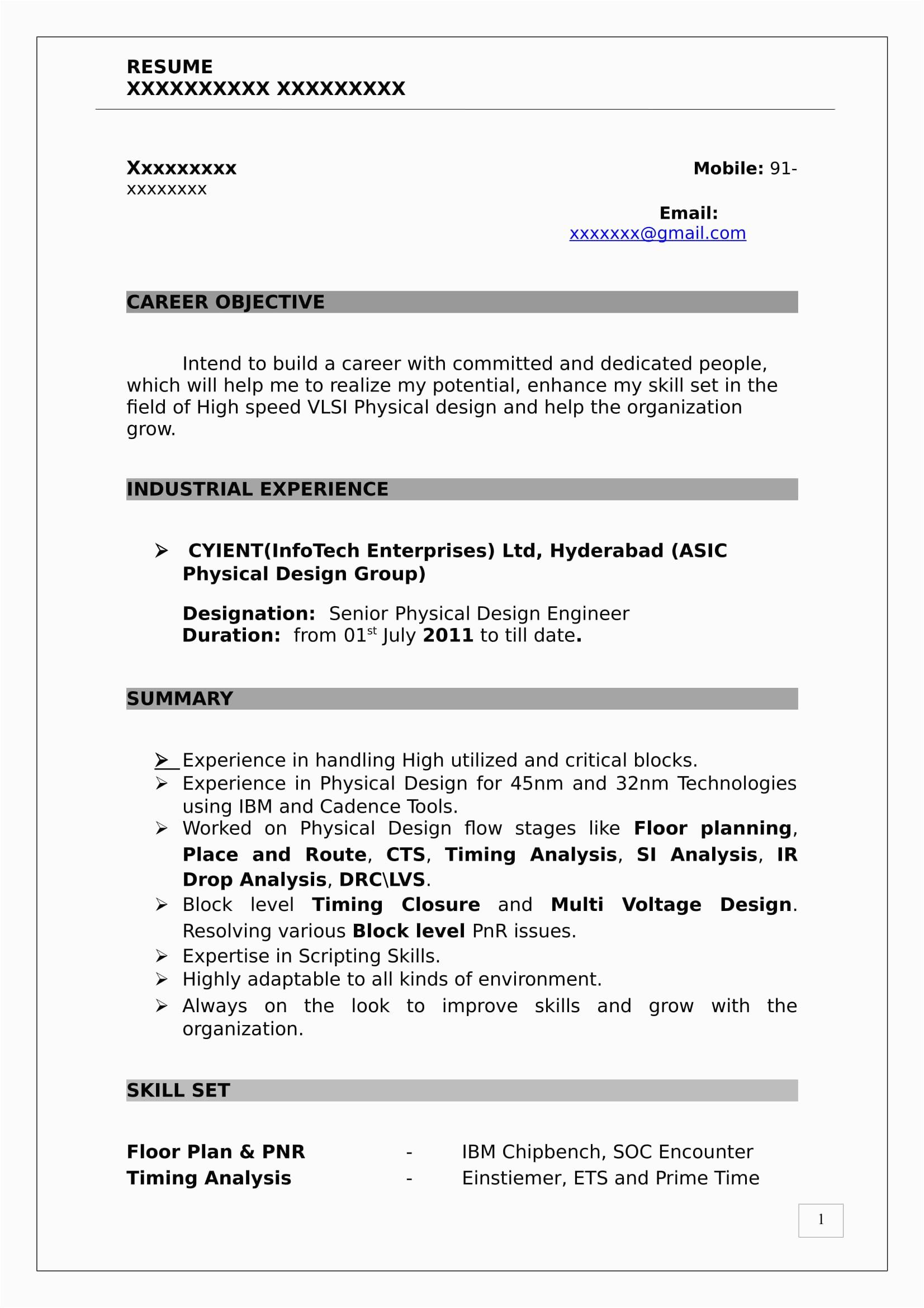 vlsi design engineer resume
