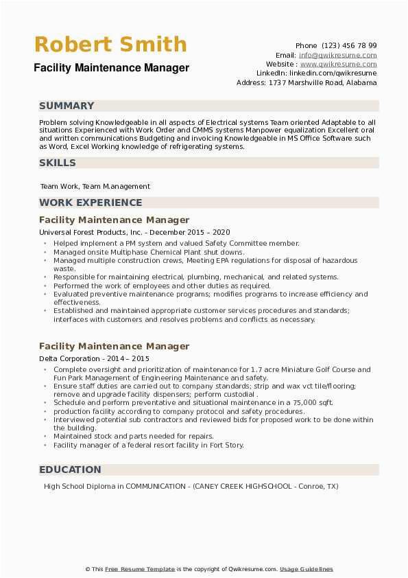 facility maintenance manager