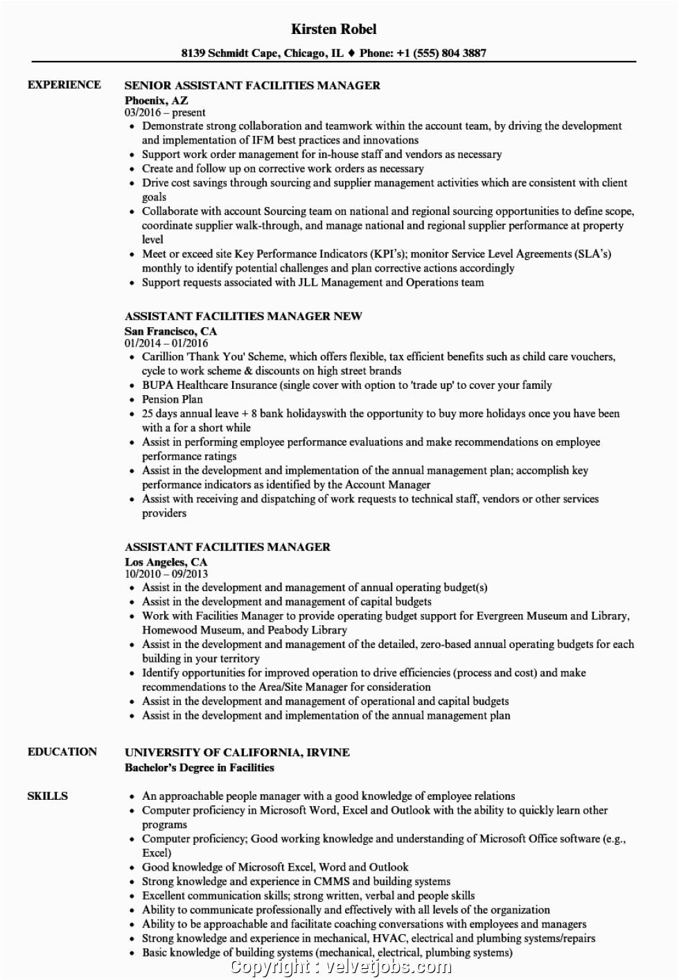 new facility manager resume sample