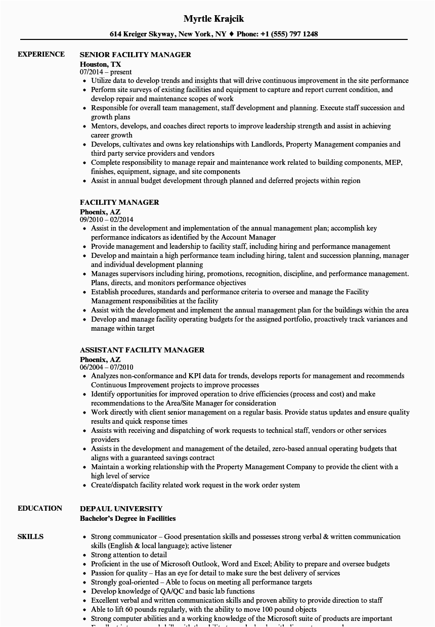 Sample Resume for Facility Manager In India Resume for Facility Manager Mryn ism