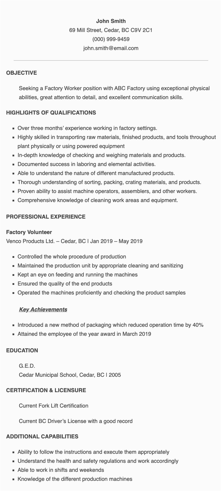 Sample Resume for Factory Worker Philippines Resume Samples for Factory Worker Applicant In the Philippines