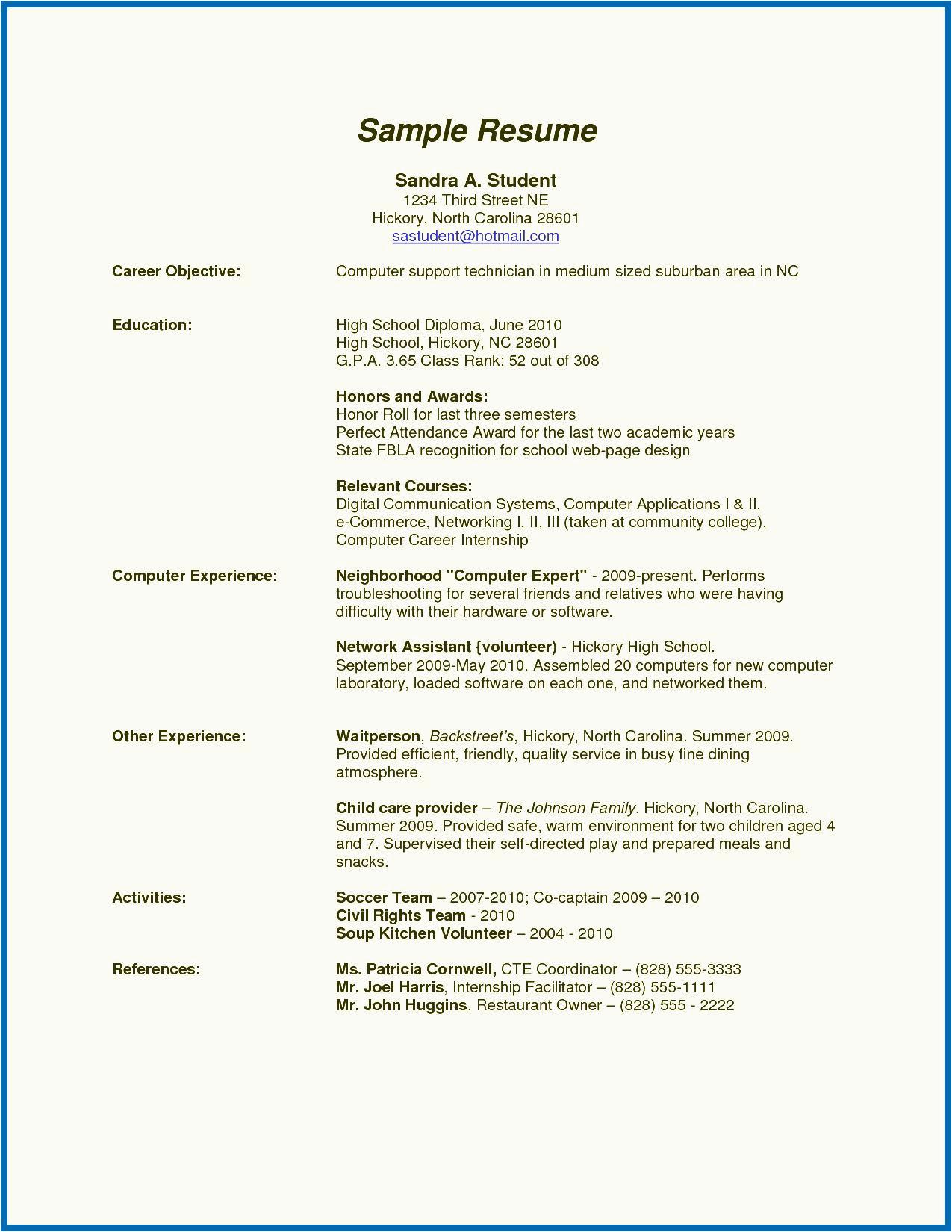 11 12 high school resume for summer job