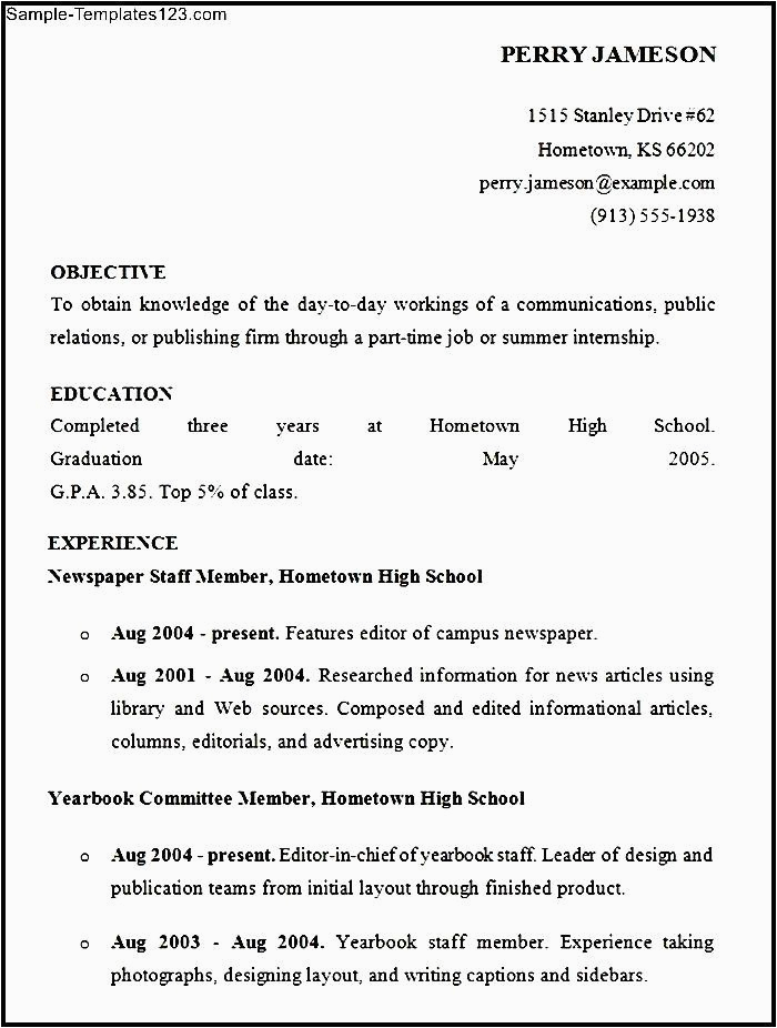 high school resume for summer job