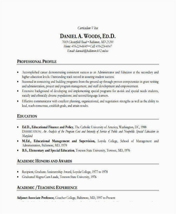 education resume sample