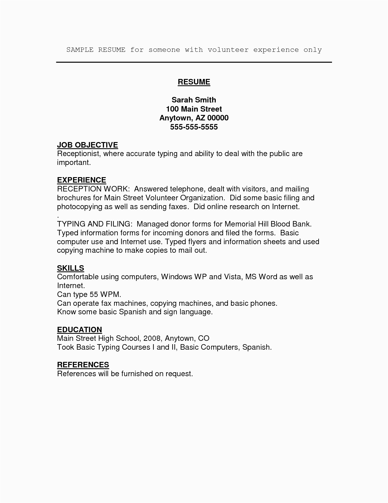 Sample Resume for Highschool Students with Volunteer Experience Job Resume Volunteer Experience Umecareer