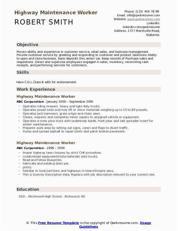 Sample Resume for Highway Maintenance Worker Highway Maintenance Worker Resume Samples