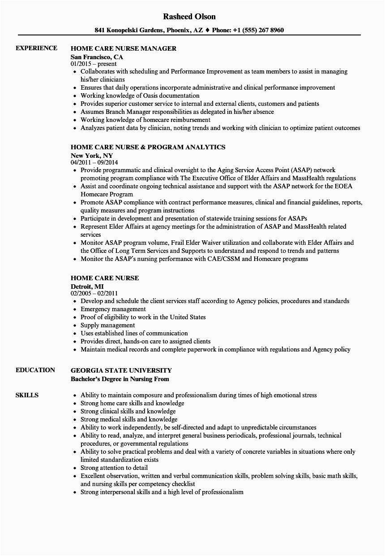 Sample Resume for Home Care Nurse Home Care Nurse Job Description Resume