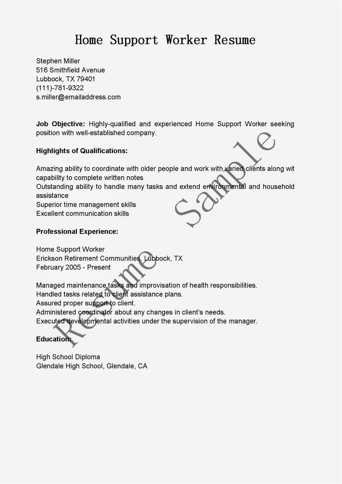 Sample Resume for Home Support Worker Resume Samples Home Support Worker Resume Sample