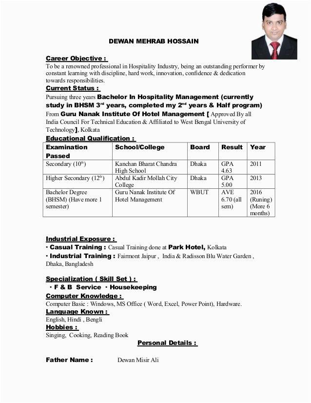 Sample Resume for Hospital Management Freshers Resume format In Word for Hotel Management Fresher Best