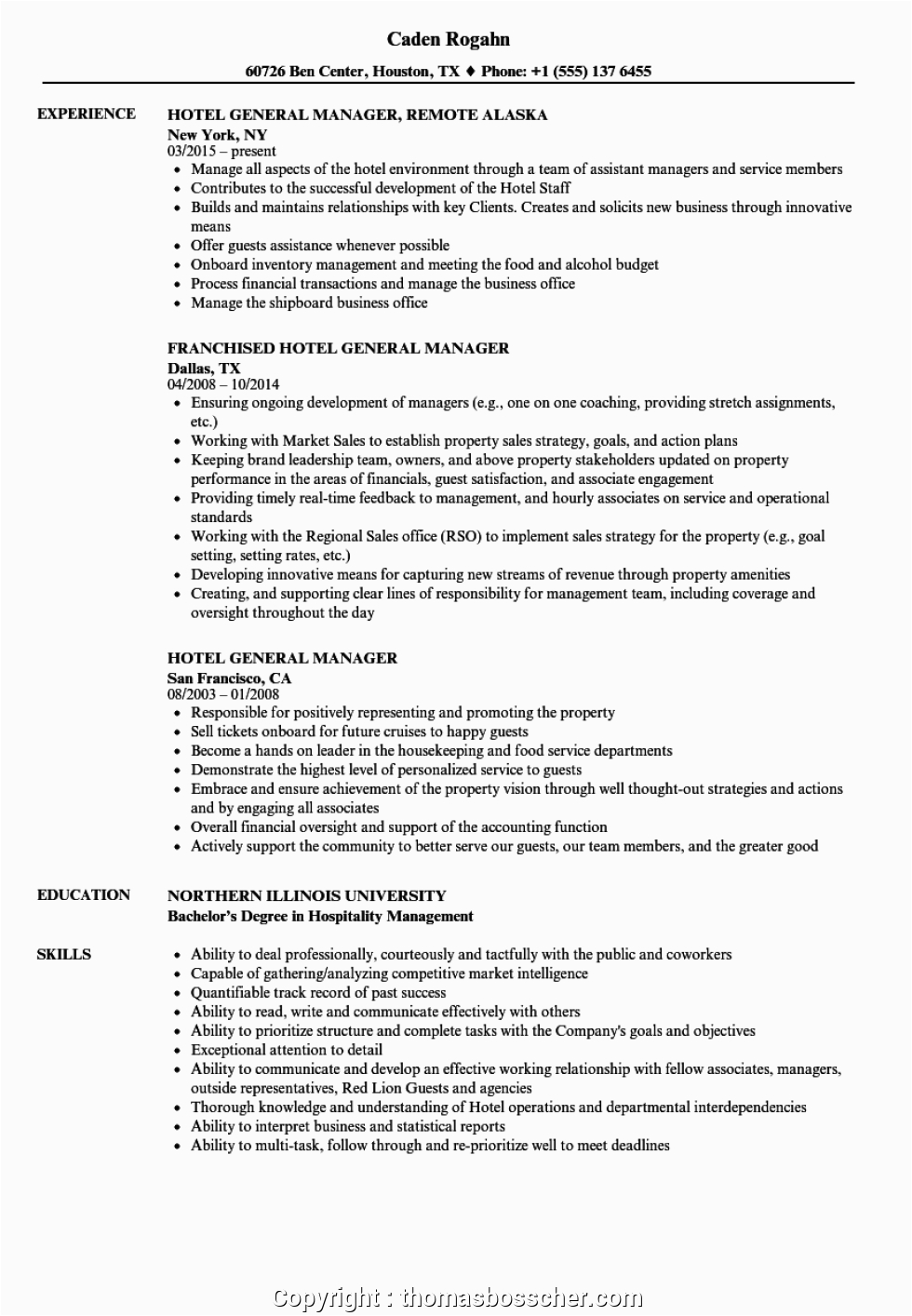 free hotel manager cv doc