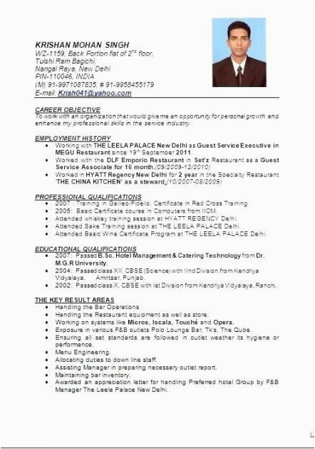 resume format in word for hotel