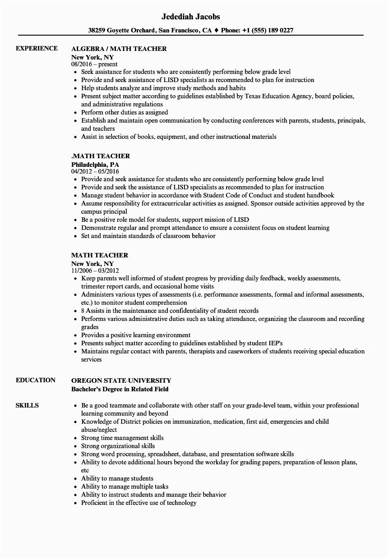 Sample Resume for Maths Teachers Freshers Maths Teacher Cv Pdf February 2021