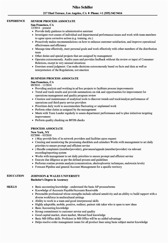 process associate resume sample